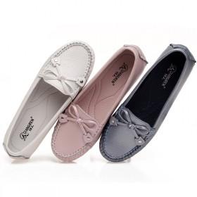 蛋卷鞋春新品皮鞋女款圆头平跟浅口蝴蝶结单鞋强人