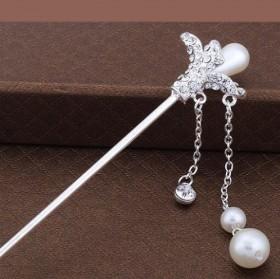 热卖首饰 古典复古头饰 银色珍珠发簪 盘发器 新款