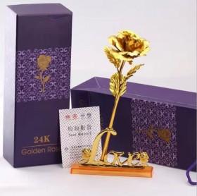创意金玫瑰花送女朋友生日礼物情人节24K镀金箔玫瑰