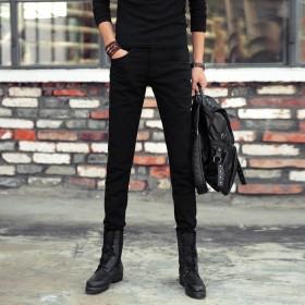 男式小脚黑色牛仔裤