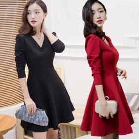 女装春秋新款韩版气质修身显瘦长袖连衣裙中长款V领