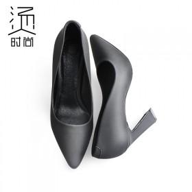 马蹄跟高跟鞋 新品多色细跟羊皮单鞋 免费试穿