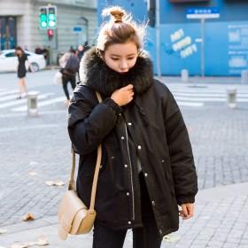 2016冬装大毛领棉衣女中长款学生宽松加厚工装棉服