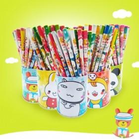 卡通木质无毒铅笔72支桶装