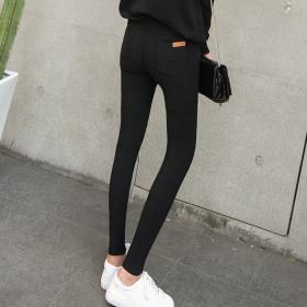 外穿打底裤加绒秋新款九分裤子女高腰显瘦黑色小脚裤