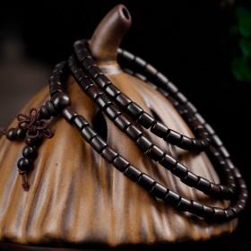 佛珠手串黑檀桶珠8mm108颗配饰手链民族风情侣款