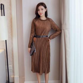 春季新品纯色丝绒女装连衣裙韩版学生高腰潮百褶a字长