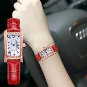 艾诺专柜正品 真皮带防水镶钻女表石英表腕表女士手表