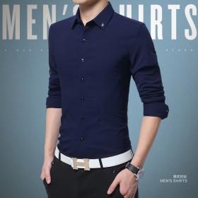 男士长袖衬衫立领修身韩版薄款青年潮流商休闲商务蚕丝