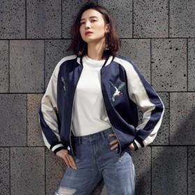 宋佳明星同款2017春装新款 刺绣棒球服夹克短外套