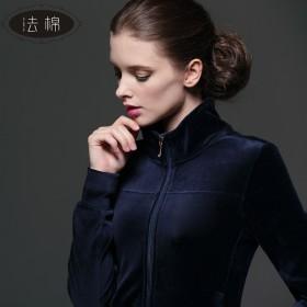 天鹅绒运动套装女士休闲立领套装春秋新款
