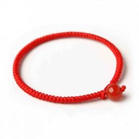 本命年红绳手链黑曜石手工编织线手绳情侣红玛瑙男女