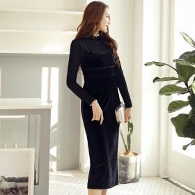 秋冬时尚两件套长袖针织衫收腰荷叶边连衣裙半身裙套装