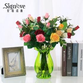 仿真玫瑰花5支装  餐桌客厅装饰花