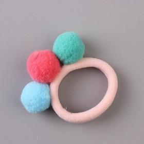 儿童韩国发饰头饰女童发绳宝宝三色球彩色毛球毛线发圈