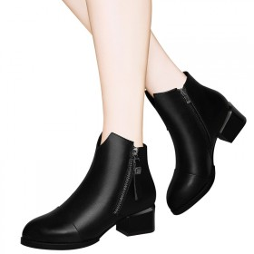 百年纪念头层牛皮女靴子圆头女短靴女鞋保暖马丁靴