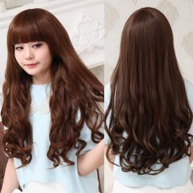 韩版假发女整顶齐刘海长卷发蓬松大波浪长发卷发中长款