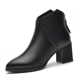 百年纪念头层牛皮纯色女靴子女短靴防水台女鞋休闲皮鞋