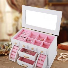 多层实木首饰盒大容量欧式复古公主绒布耳钉戒指韩国