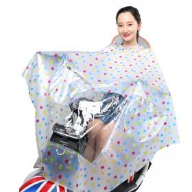 致富家电动车雨衣 加大加厚透明单人带镜套双帽檐雨衣