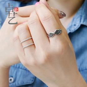 日韩新款复古S925银开口天使翅膀可调节银戒指女