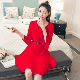 红色连衣裙女夏韩版时尚新款大码学生宽松a字荷叶边潮