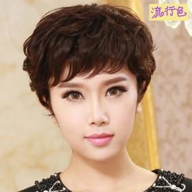 假发女短卷发妈妈款假发头套中老年气质短发微卷纹理烫