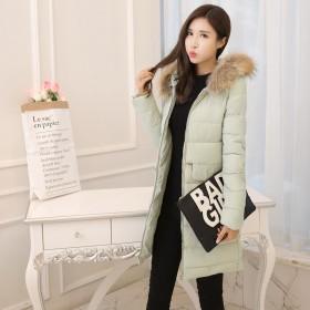 冬天棉衣女中长款修身显瘦韩国潮百搭纯色休闲时尚冬天