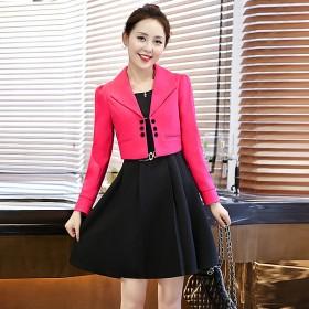 二件套连衣裙女韩版长袖纯色修身裙摆套装裙