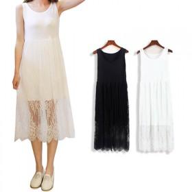 四季可以穿 莫代尔蕾丝吊带长裙透视连衣裙