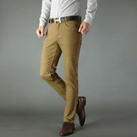 新款纯棉修身小直筒休闲裤男中腰微弹百搭长裤子