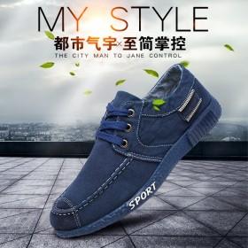 男士鞋子春秋季帆布鞋 韩版休闲运动学生牛仔布鞋