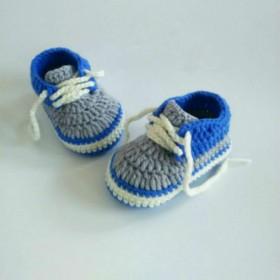 纯手工宝宝编织鞋牛奶棉线运动鞋系带软底新手儿鞋袜