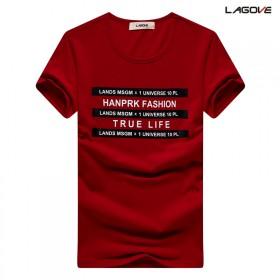 莱卡棉短袖T恤男士半袖t恤圆领印花打底衫