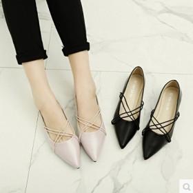 春季新款女鞋尖头平底单鞋性感交叉绑带浅口平跟鞋