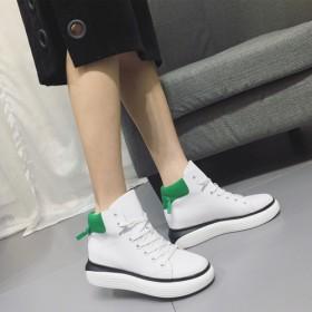 厚底高帮小白鞋系带休闲板鞋运动女鞋舒适旅游鞋