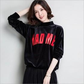 女装外套丝绒套头韩版女式卫衣宽松大码纯色打底衫女