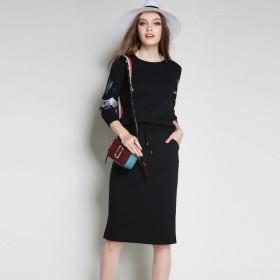 欧美品牌大码女装大码胖MM春装新款两件套显瘦套装裙