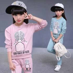 伊诺小镇童装女童套装春秋款韩版印花圆领长袖长裤两件