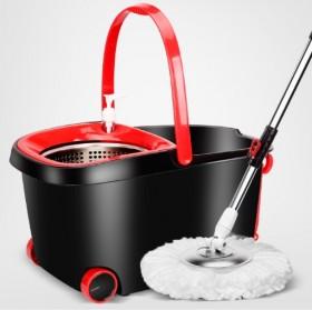 2个头不锈钢篮双驱动带滚轮带排水口旋转拖把桶拖布