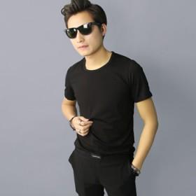男士纯棉圆领T恤男韩版修身莱卡棉青少年短袖大码t恤