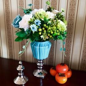 欧式陶瓷摆件三件套蓝色罐样板房玄关装饰工艺品