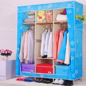 简易衣柜实木 牛津布衣柜衣橱折叠木质大号布柜加固加