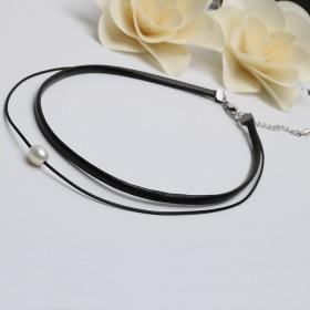 韩国风双层黑皮绳天然珍珠路路通带延长尾链休闲颈链