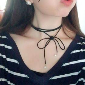 choker韩国鹿皮绳天然珍珠项链绑带颈链锁骨链