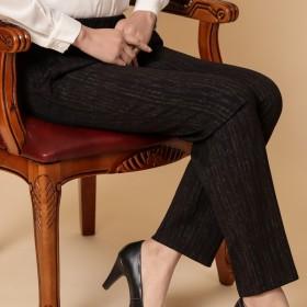 中老年女裤春款长裤高腰妈妈裤松紧弹力宽松休闲老人裤
