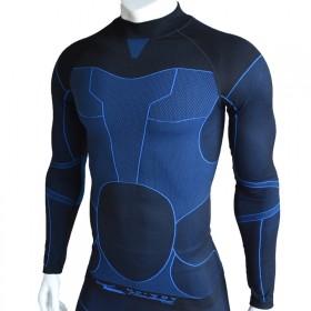 户外蓝色线条紧身弹力保暖速干排汗运动功能内衣长袖上