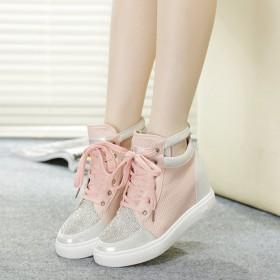 春季水钻高帮鞋女内增高松糕底女鞋厚底百搭板鞋系带单