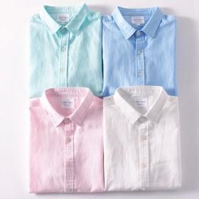 春季男装棉麻亚麻衬衫男长袖衬衫修身青年