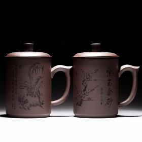 宜兴紫砂杯手工宜兴茶具紫砂茶杯带盖杯办公杯个人杯